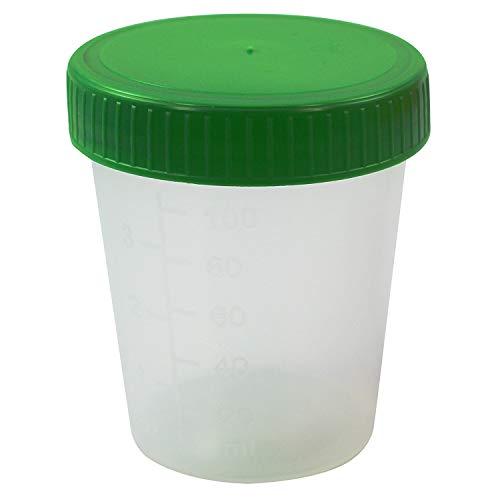 50unidades./Pack–orina Taza 125ml con tapa de rosca verde