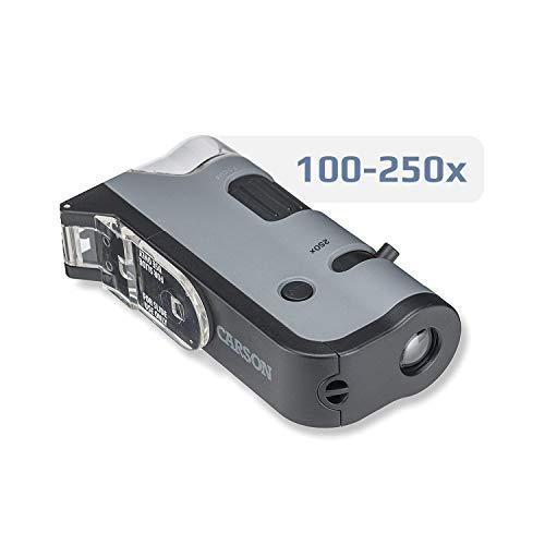 Carson MicroFlip 100-250x Microscopio de Bolsillo con luz LED y Adaptador de digiscoping...