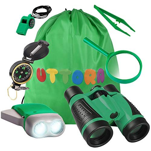 UTTORA Kit de Binoculares para Niños, Kit de Exploración para Niños 7 en 1,...