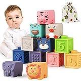 Luclay Bloques Apilables para Bebés 6 Meses 1 2 3 4 años ,Cubos Juguetes Bebe para...