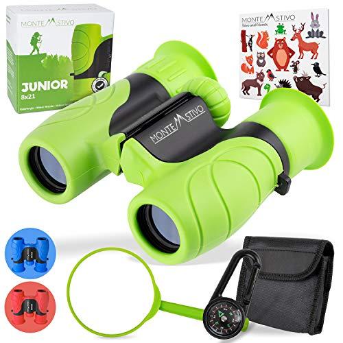 Monte Stivo® Junior prismaticos niños | Binoculares 8x21 en Juego con Lupa y brujula |...