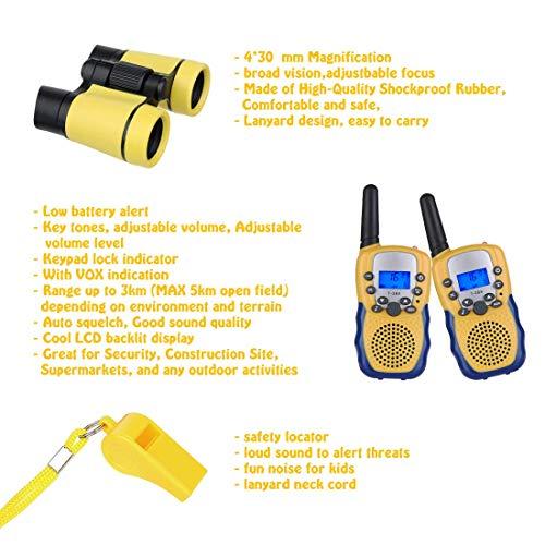 joyoldelf Walkie Talkie Niños y Prismaticos Niños, PMR446 8 Canales LED Linterna...