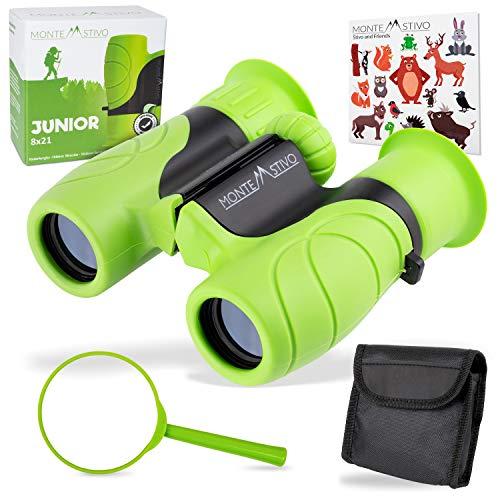 Monte Stivo ® Junior | Binoculares para niños 8x21 | Set como Regalo para pequeños...