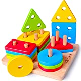 Rolimate Juguetes para Niños Pequeños Apilador Geométrico De Madera, Stack & Sort Board...