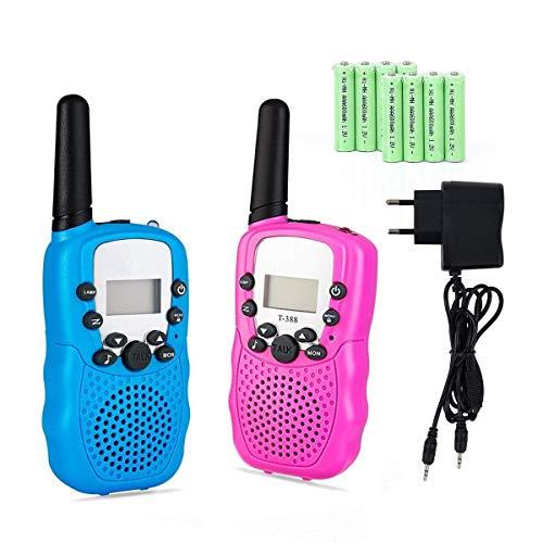 Lomoo Walkie Talkie Recargable de hasta 3 KM PMR 446MHz con 8 Canales Walkie Talkies con...