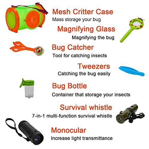 OOTSR [Paquete de 7] Kit de exploración al Aire Libre Incluye Bug Catcher Brújula Silbar...